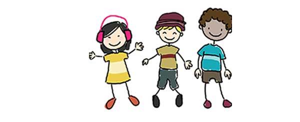 Three cartoon students