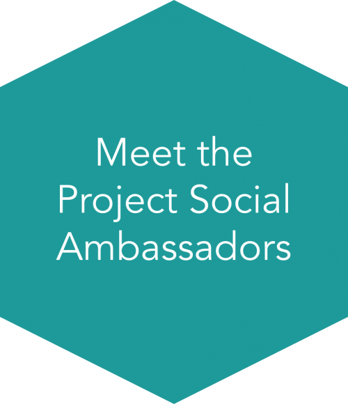 "Turquoise ""Meet the Project Social Ambassadors"" button"
