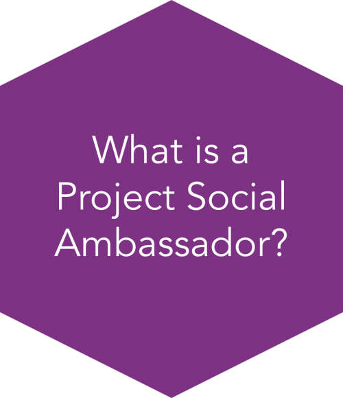 "Purple ""What is a project social ambassador?"" button"